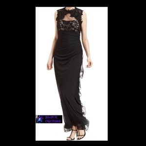 💜BETSY & ADAM💜12 BLACK SOLID & LACE CASCADE GOWN